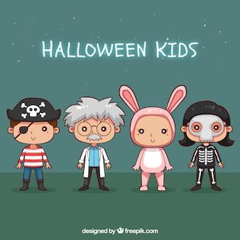 Kolekcja ręcznie rysowane dzieci halloween przebrany
