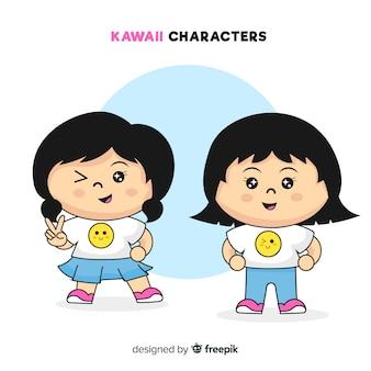 Kolekcja ręcznie rysowane dziewczyna kawaii