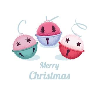 Kolekcja ręcznie rysowane dzwonki świąteczne