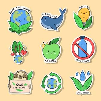 Kolekcja ręcznie rysowane ekologia odznaki