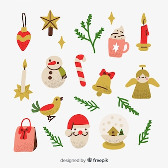 Kolekcja ręcznie rysowane element świąteczny