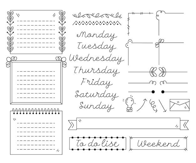 Kolekcja ręcznie rysowane elementy dziennika punktorów