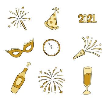 Kolekcja ręcznie rysowane elementy nowego roku