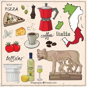Kolekcja ręcznie rysowane elementy włoski