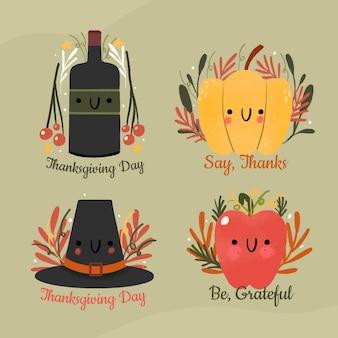 Kolekcja ręcznie rysowane etykiety dziękczynienia