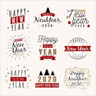 Kolekcja ręcznie rysowane etykiety nowy rok 2020