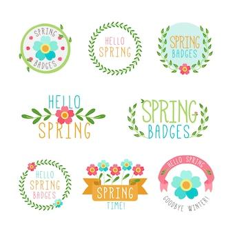 Kolekcja ręcznie rysowane etykiety wiosenne