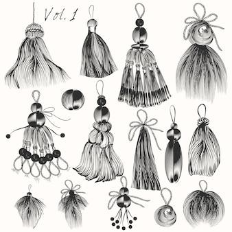 Kolekcja ręcznie rysowane frędzle