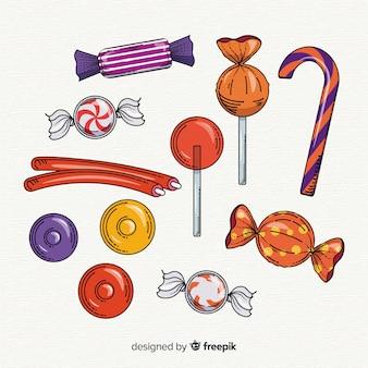 Kolekcja ręcznie rysowane halloween cukierków