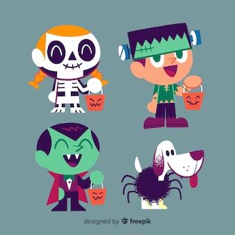 Kolekcja ręcznie rysowane halloween dziecko