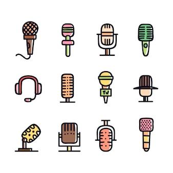 Kolekcja ręcznie rysowane ikony mikrofonu