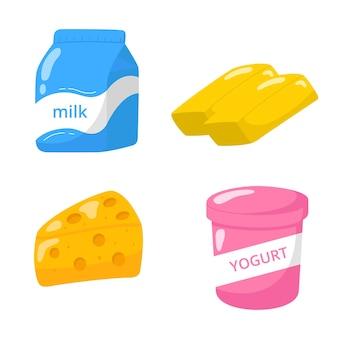 Kolekcja ręcznie rysowane ikony produktów mlecznych.