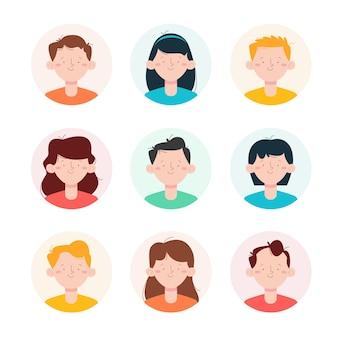 Kolekcja ręcznie rysowane ikony profilu