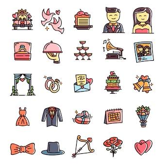 Kolekcja ręcznie rysowane ikony ślubne