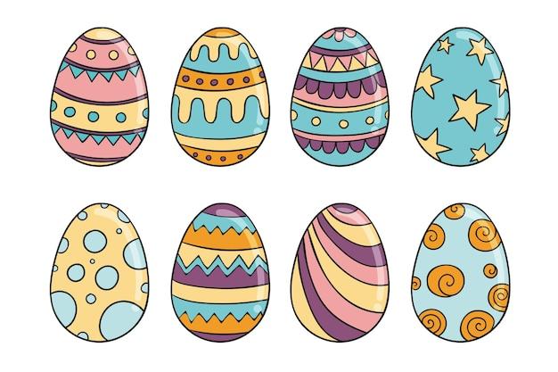 Kolekcja ręcznie rysowane jajko wielkanocne