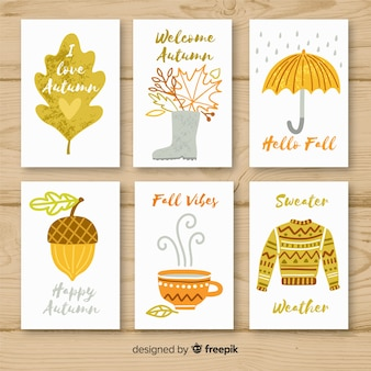 Kolekcja ręcznie rysowane jesienne karty