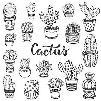 Kolekcja ręcznie rysowane kaktusów w stylu szkicu. piękny zestaw czarno-biały charakter.