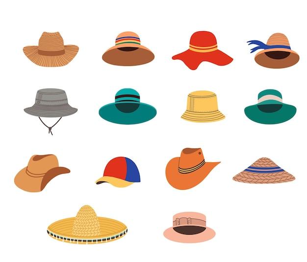 Kolekcja ręcznie rysowane kapelusze.