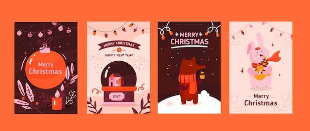 Kolekcja ręcznie rysowane kartki świąteczne