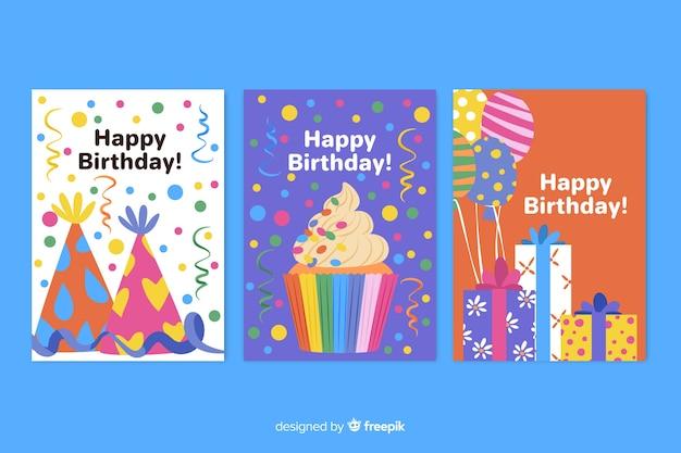 Kolekcja ręcznie rysowane kartki urodzinowe
