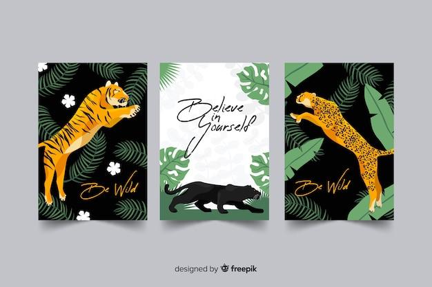 Kolekcja ręcznie rysowane karty tygrysa