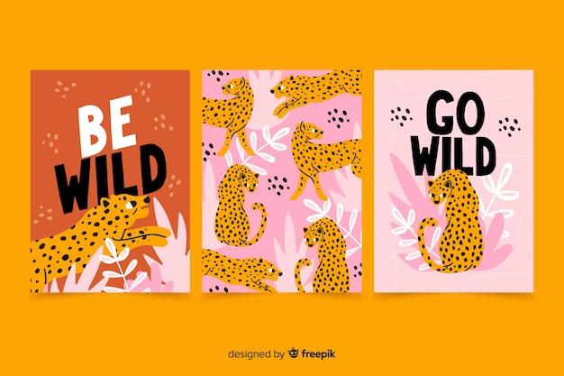 Kolekcja ręcznie rysowane karty zwierząt
