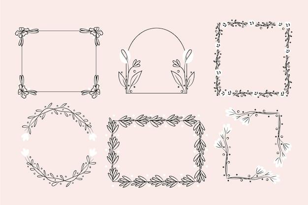 Kolekcja ręcznie rysowane klatek kwiatowy