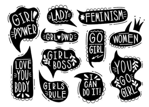 Kolekcja ręcznie rysowane komunikować mowę feminizmu.