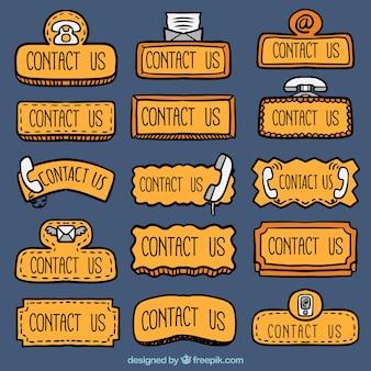 Kolekcja ręcznie rysowane kontaktowych internetowych przyciski