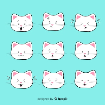 Kolekcja ręcznie rysowane koty kawaii