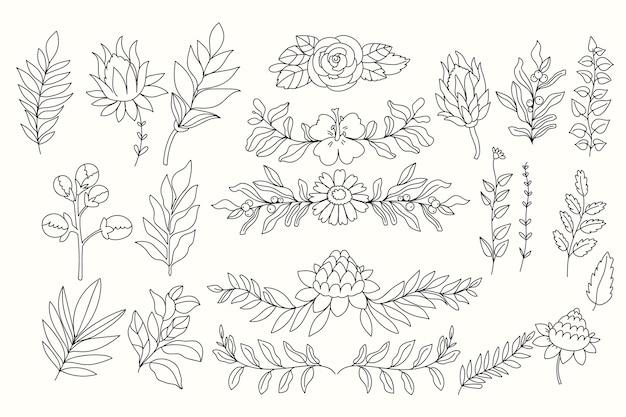 Kolekcja ręcznie rysowane kwiaty linii