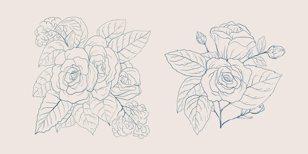 Kolekcja ręcznie rysowane kwiaty w kolorze vintage