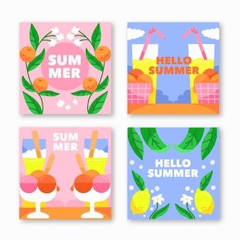 Kolekcja ręcznie rysowane letnie karty