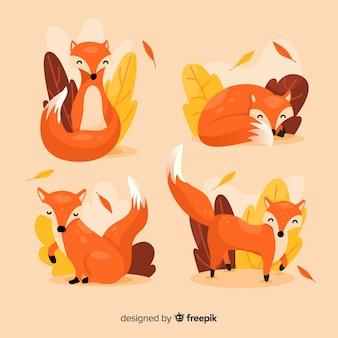 Kolekcja ręcznie rysowane lisa