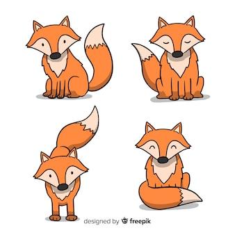 Kolekcja ręcznie rysowane lisów