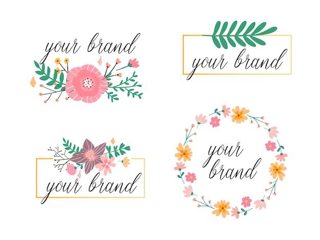 Kolekcja ręcznie rysowane logo. logo z kwiatami i pięknymi czcionkami. dla osób, kwiaciarni, fotografów i innych kreatywnych zawodów