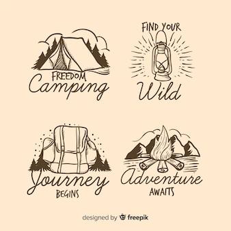 Kolekcja ręcznie rysowane logo przygody