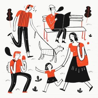 Kolekcja ręcznie rysowane ludzi w parku.