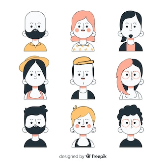 Kolekcja ręcznie rysowane ludzie avatar