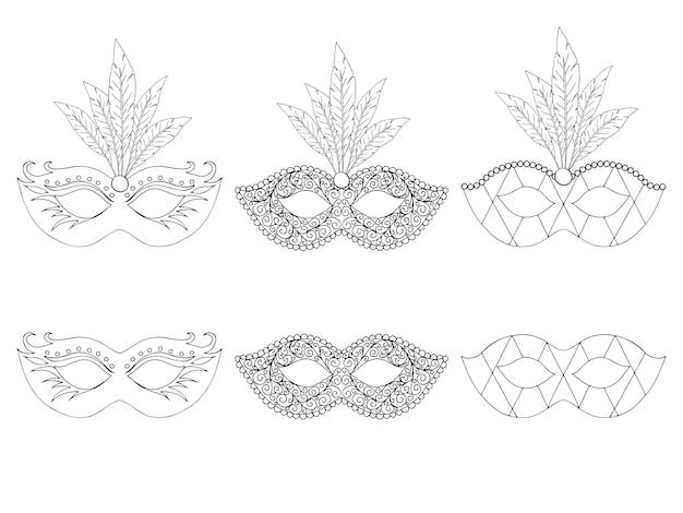 Kolekcja ręcznie rysowane maski. na białym tle. czarny i biały.