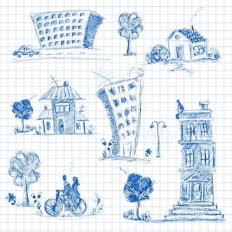 Kolekcja ręcznie rysowane obiekty