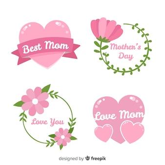 Kolekcja ręcznie rysowane odznaka dzień matki