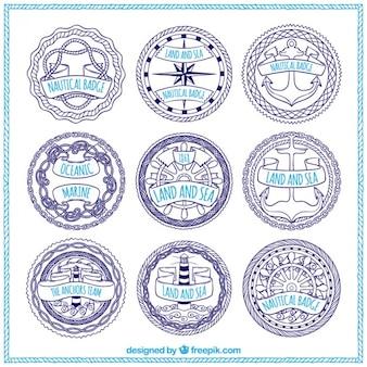 Kolekcja ręcznie rysowane odznaki żeglarskiej