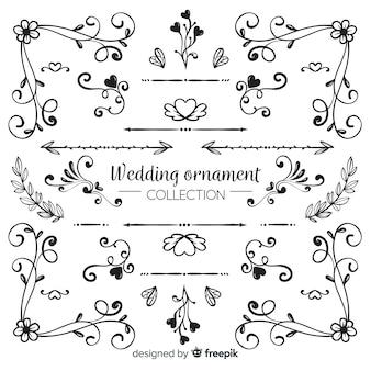 Kolekcja ręcznie rysowane ornament ślubny