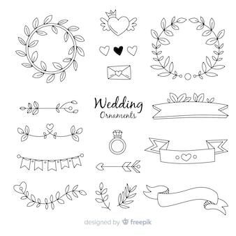 Kolekcja ręcznie rysowane ozdoby ślubne