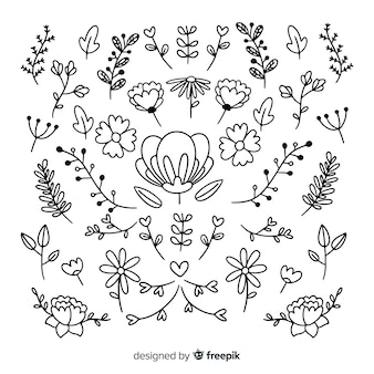 Kolekcja ręcznie rysowane ozdoby z kwiatów