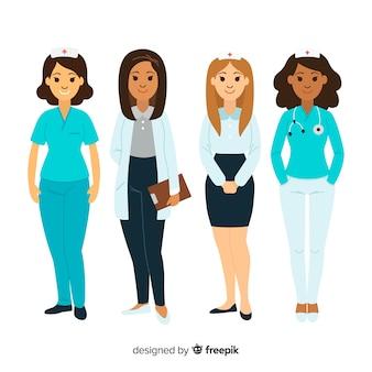 Kolekcja ręcznie rysowane pielęgniarki zespołu