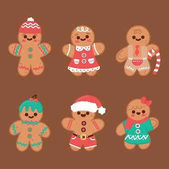 Kolekcja ręcznie rysowane piernika cookie