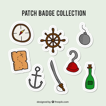 Kolekcja ręcznie rysowane pirata odznaki