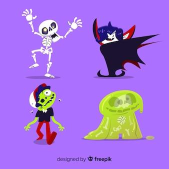 Kolekcja ręcznie rysowane postaci z halloween
